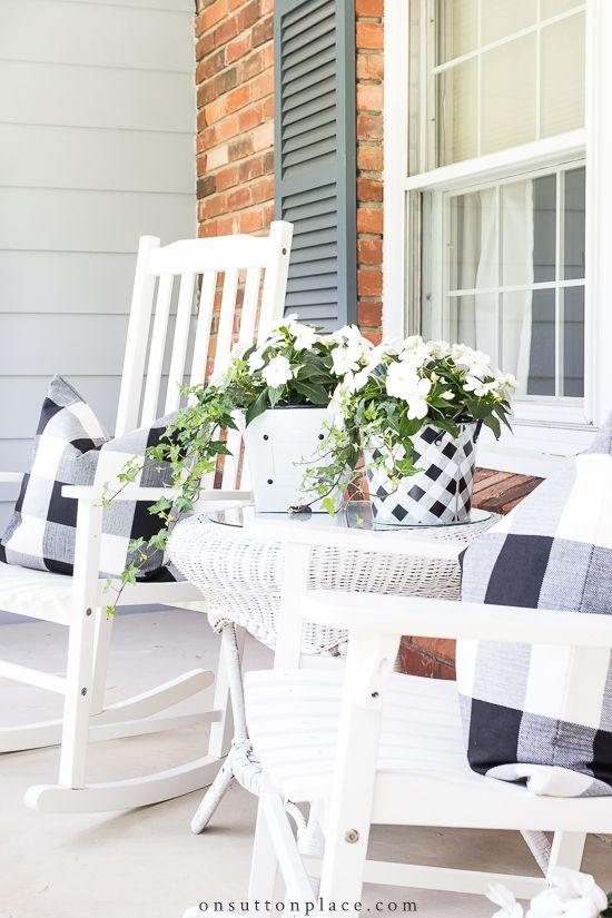 Black And White On The Front Porch Front Porch Design Porch Design Summer Porch Decor
