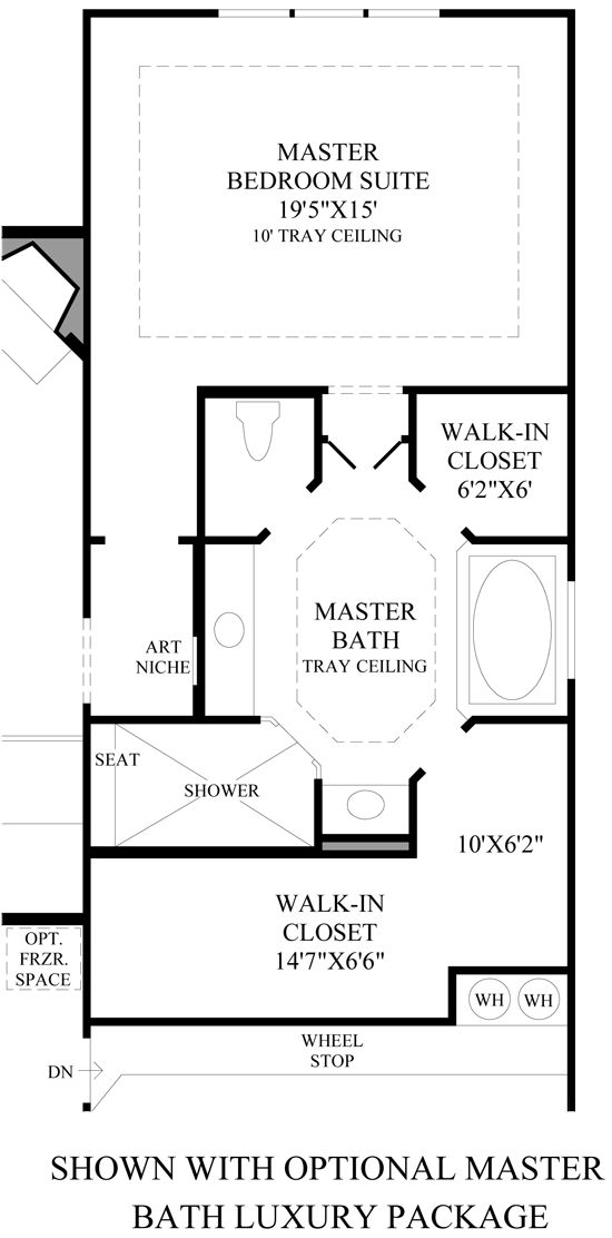 Toll brothers alon estates master suite layout for Master bedroom with ensuite and walk in wardrobe