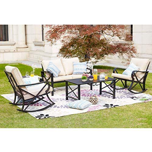Lokatse Home 5pcs Patio Furniture Conversation Bistro Sets Loveseat And 2 Coffee Table 5 Pcs Chair Conversation Set Patio Patio Seating Patio Furniture Sets