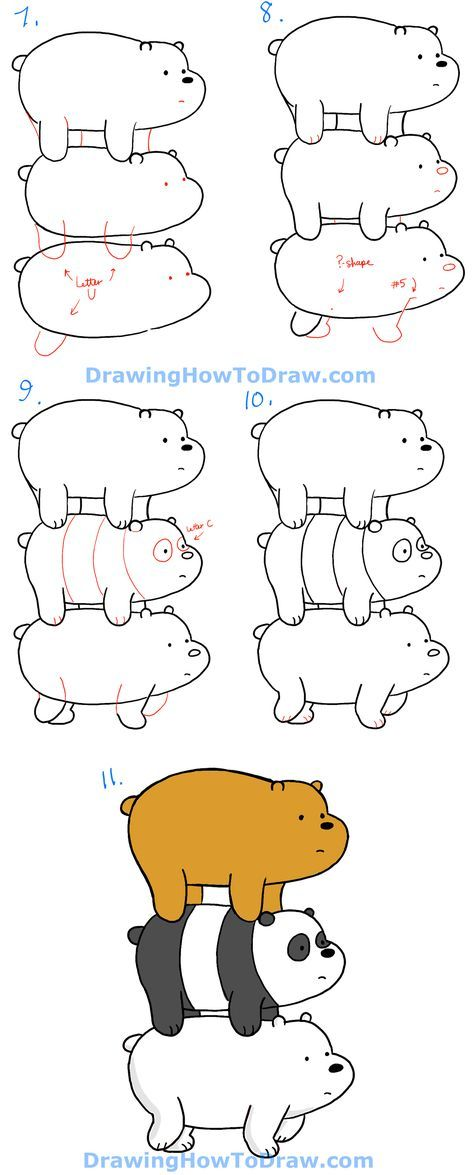 How To Draw Grizzly Panda And Ice Bear From We Bare Bears