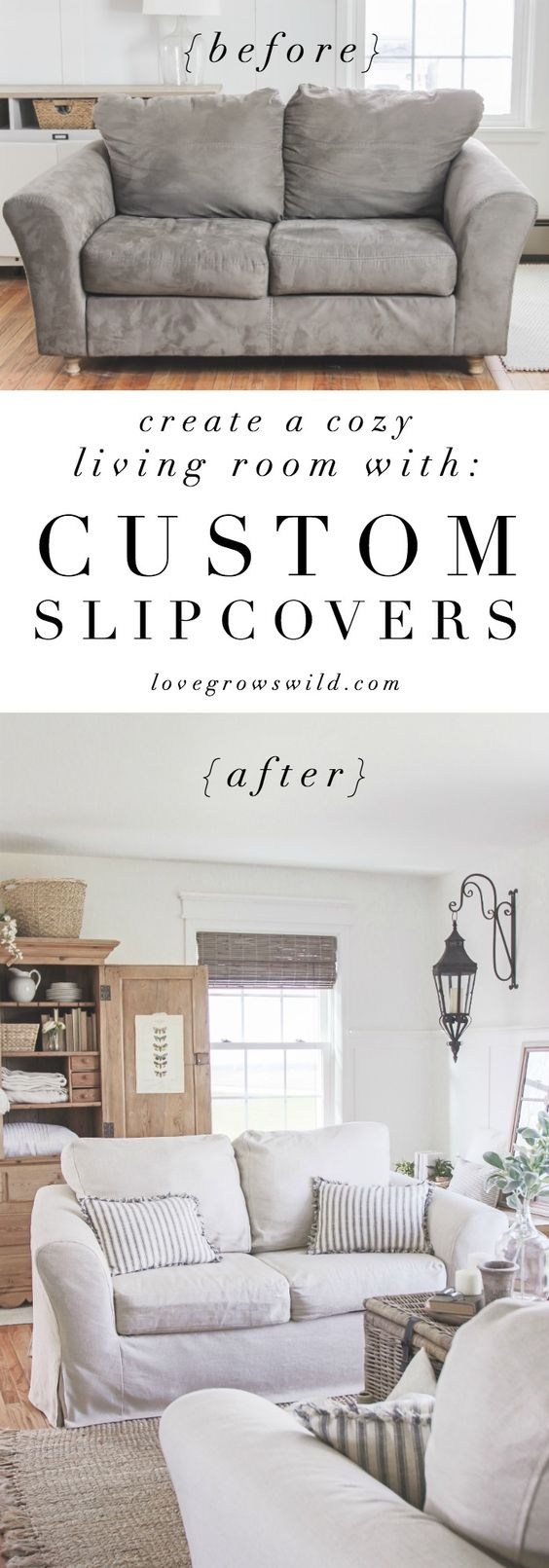 A cozy farmhouse living room with beautiful linen slipcovered sofas. See how to…