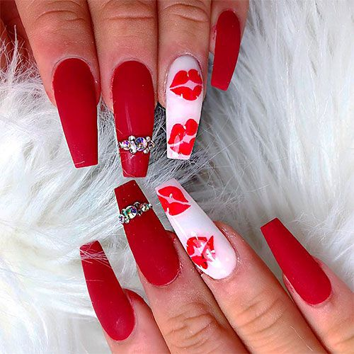 Gorgeous Matte Red Coffin Nails With Lip Print Nail Art