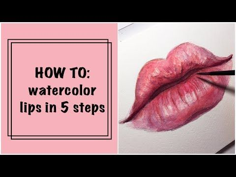 Lips Watercolor Watercolor Lippen Aquarell Aquarelle De