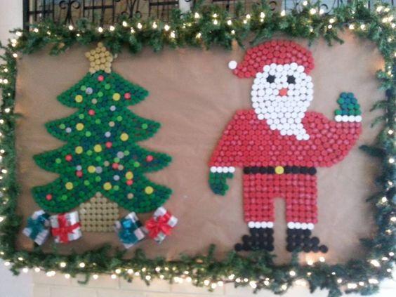 Mi mural navide o elaborado con tapas de refresco for Mural navideno