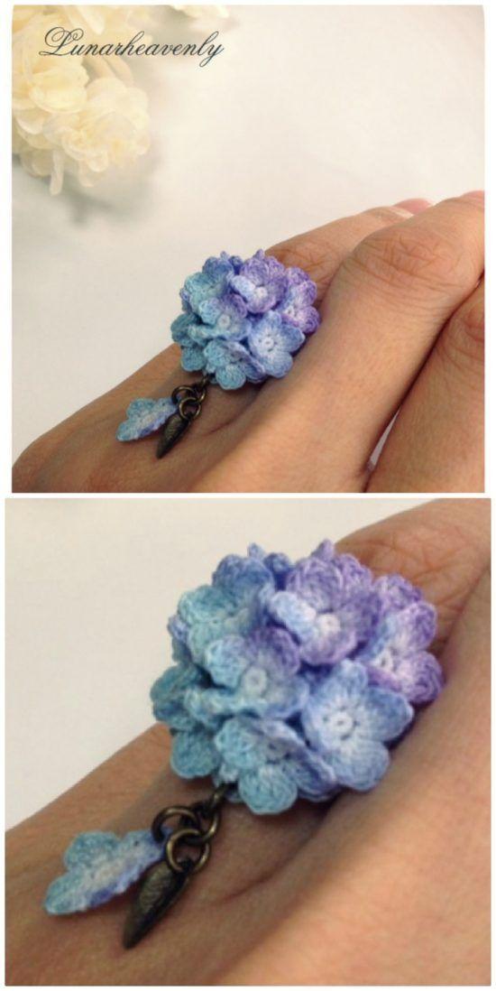 Crochet Hydrangea Flower Pattern Free Video Tutorial Crochet Flowers Free Pattern Crochet Necklace Pattern Crochet Jewelry Patterns