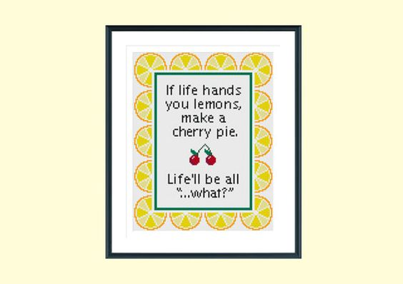 Stitch this bright and funny quote, which uses 8 vibrant DMC colours and whole stitches only. A perfect modern cross stitch gift for a friend who