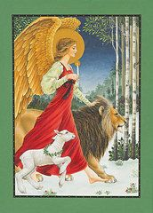 Christmas Paintings - The Angel The Lion and The Lamb  by Lynn Bywaters