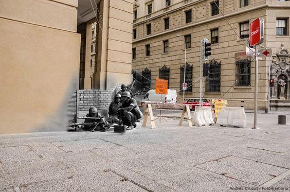 """""""La Persistencia de la Memoria"""" fotomontaje de Andrés Cruzat para el anniversario del Golpe de Estado del 11 de septiembre."""