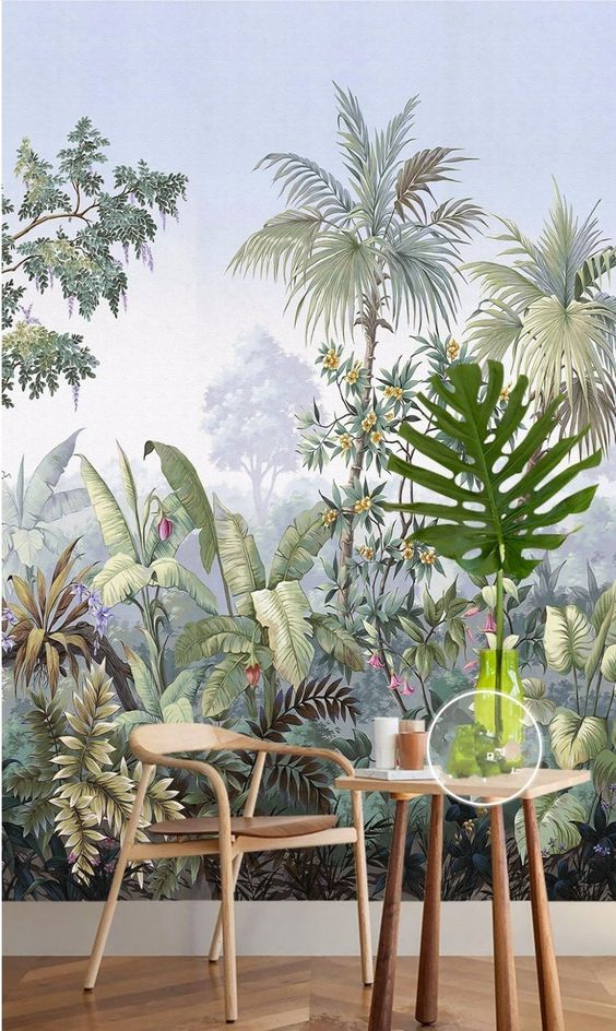 Retro Reminiscent tropical Rainforest Wallpaper Mural mural de | Etsy