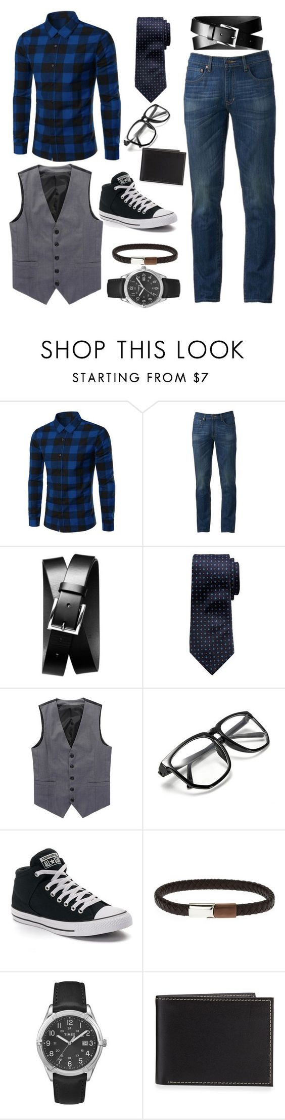 """Date Night"" by ch120684 ❤ liked on Polyvore featuring Urban Pipeline, Banana Republic, Converse, Timex, Neiman Marcus, men's fashion and menswear"