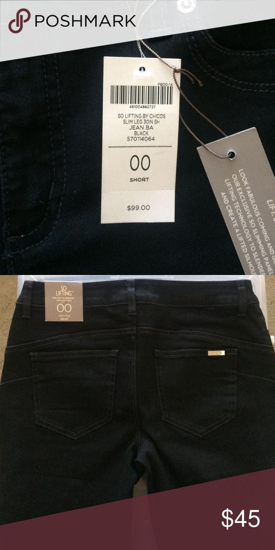 Chico's So Lifting 00 Black Jean Slim leg 30 in. Inseam (short) equal to about a regular size 6. Never worn. Tags still on. Chico's Jeans