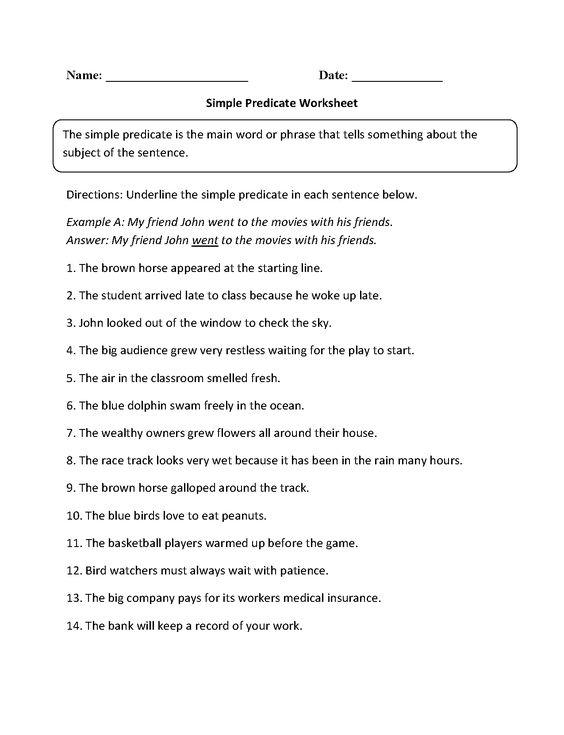 Simple Predicate Worksheet education – Simple Predicate Worksheets