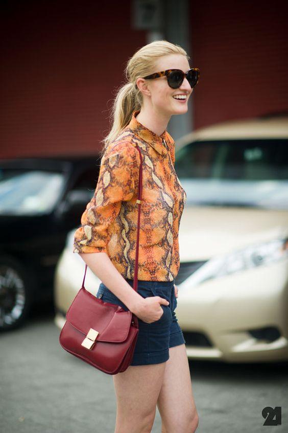 Candice Lake looking fab per usual: Orange Blouse, Fashion Style, Street Styles, Kathyna257892 Snakeprintshorts, Fashion Inspiration, Snakeprintshorts Patterned