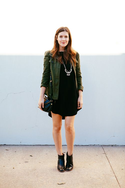 Neutral Fall Looks We Love | Green jacket, Dress black and Best ...