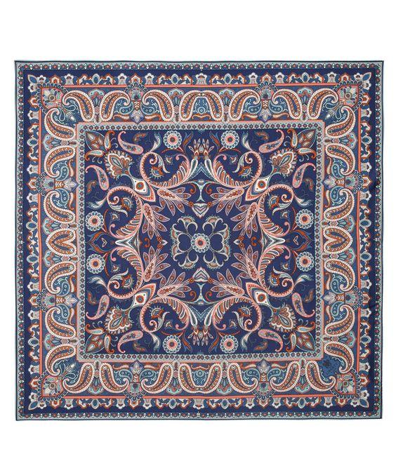 Blue paisley silk scarf