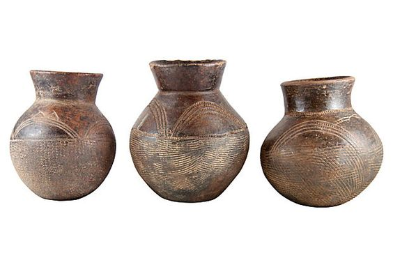 African clay pots quot pottery with tribal carving