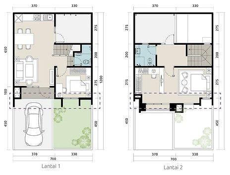 Denah Rumah Minimalis Ukuran 7x12 Me 2 Kamar Tidur 2 Lantai Tampak Depan Denah Rumah Rumah Rumah Minimalis