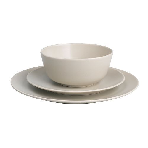 IKEA - DINERA, 18-piece service, beige, , With its simple shapes, muted colours and matt glaze, the dinnerware gives a rustic feel to your table setting.