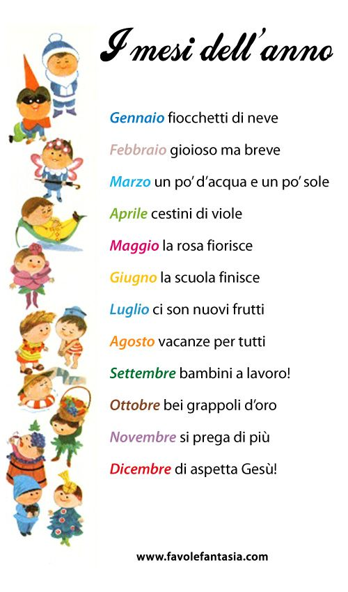 English In Italian: I Mesi Dell'anno (The Months