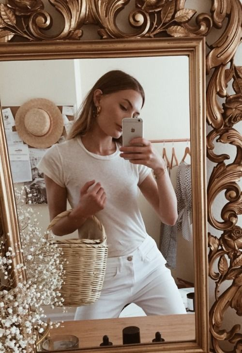 "christiescloset:""Friday, wanting to go to a vintage market with my favorite basket  all white has become my uniformWearing Les Femmes basket,"