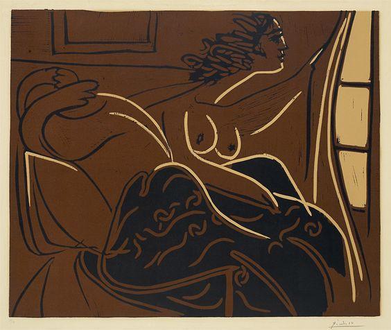 Woman looking out the window (Femme regardant par la fenetre) - Pablo Picasso (1959), linocut in colours, on paper