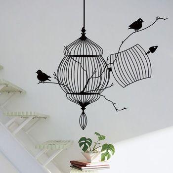 Aves de gaiola e ramo de árvore criativo moderno vinil adesivos de parede / parede impermeabilização removível decalque ZY8231