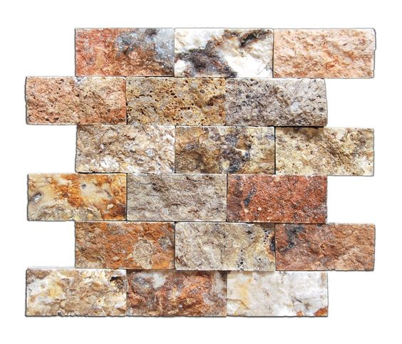 "Buy 2 X 4 Scabos Travertine Split-Faced Brick Mosaic Tile Sample Product Attributes - Item: Premium (SELECT) Quality 2"" X 4"" SCABOS TRAVERTINE SPLIT-FACED BRICK MOSAIC TILE (ON-MESH) - Dimensions (per"