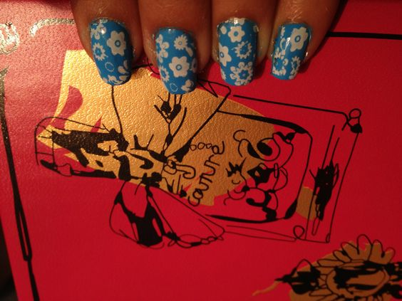 Blue Flowered nails