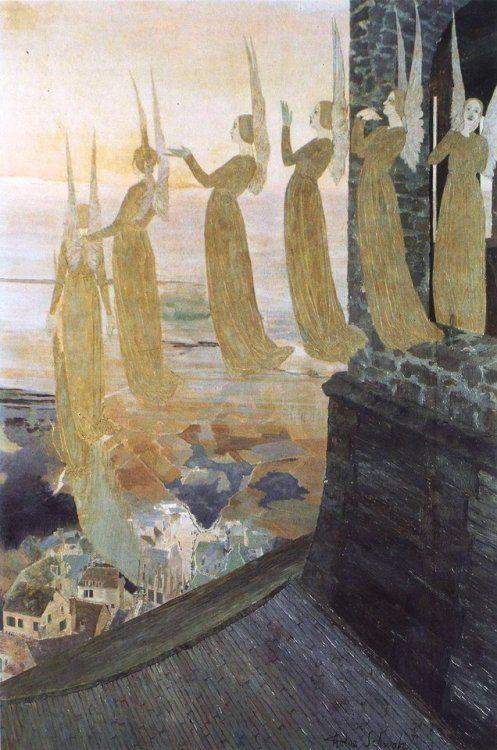 Sinos Da Noite By Carlos Schwabe Art Painting Art Nouveau