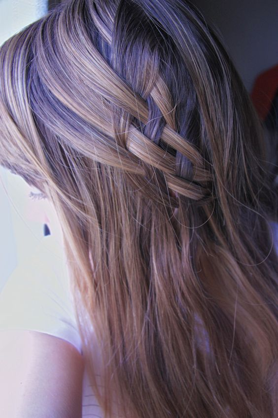 Partial up-do with basket weave.
