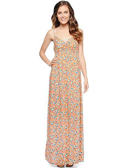 Splendid Official Store, Watercolor Maxi Dress, apricot, Womens : Dresses : Long, SDAP47645