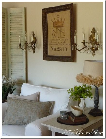 framed feed sack and LOVE that lamp shade