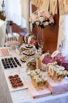 Rose and Vanilla Macarons and a wedding dessert table - eatshowandtell