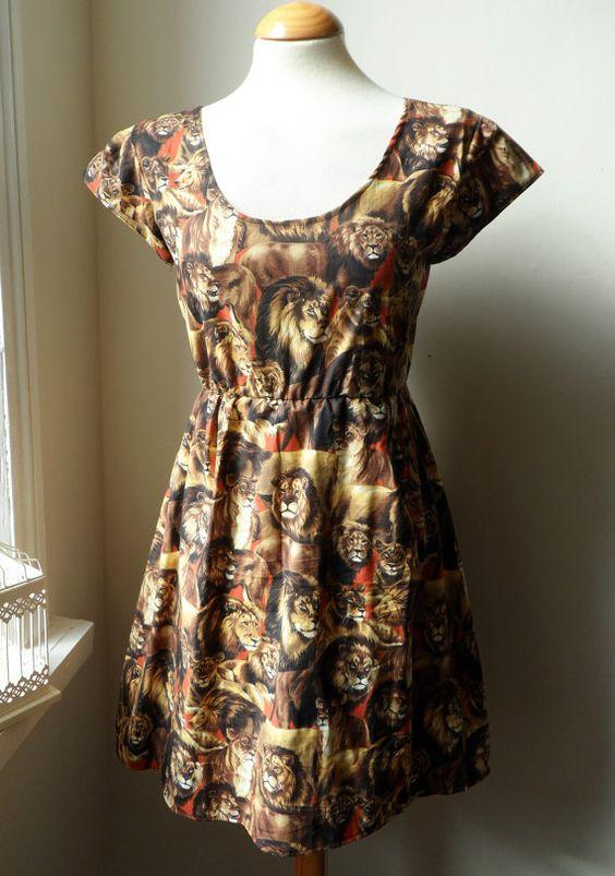 Lion and Lioness Animal Print Tea Dress / by jenniferlillydesigns