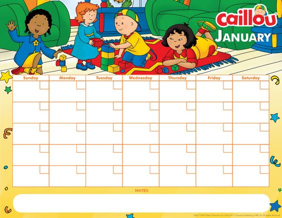 Printable Caillou Calendar – January 2017