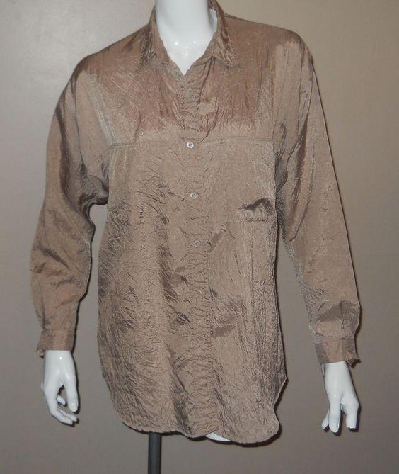DIANE VON FURSTENBERG Champagne Crinkle Blouse Shirt Medium Polyester Vtg 80's #DianeVonFurstenberg #Blouse #Any
