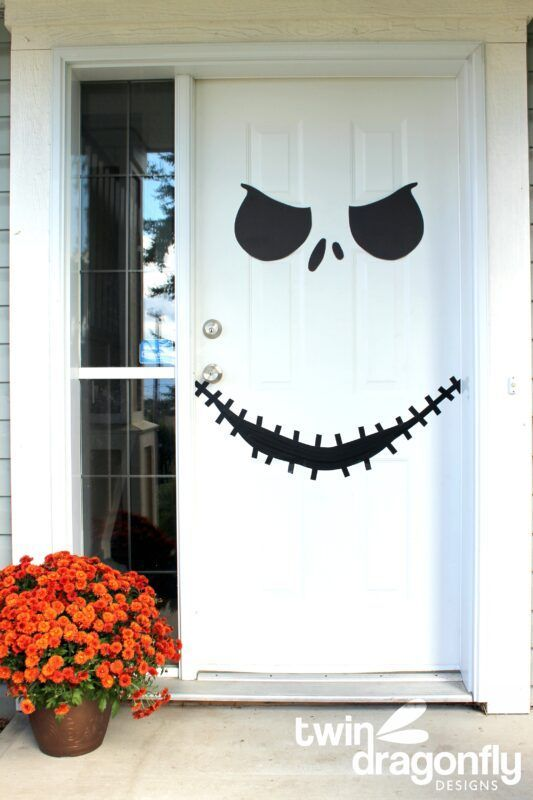 Jack Skellington Door With Free Printable Homemade Heather In 2020 Dollar Store Halloween Decorations Diy Halloween Decorations Halloween Door Decorations