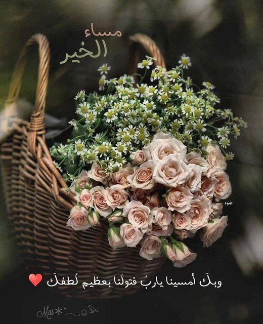 Pin By القيصر Abu Wesam On صباحكم ومسائكم دعاء Good Evening Greetings Islamic Posters Decorative Wicker Basket