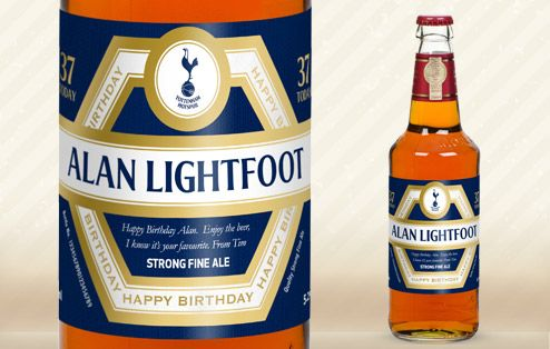 Our Spurs birthday beer will score highly with any fan of the UK's most supported club!  Are they a dedicated fan of Tottenham Hotspur? Never missed a match? These officially-licensed Spurs beer gifts will tickle their taste buds – and their football passion. Whether they're celebrating a win or their birthday, this personalised beer will hit the mark with any Spurs-loving beer buff... a birthday gift to be savoured.