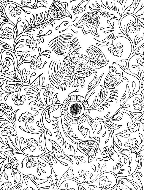 Free Printable Adult Coloring Page Indonesian Birds And Flowers