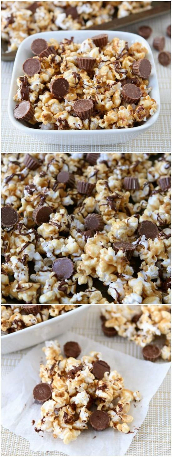 Reese's Peanut Butter Cup Popcorn | Peanut butter popcorn with a drizzle of chocolate and Mini Reese's Peanut Butter Cups. This sweet popcorn snack is perfect for movie night or game day.