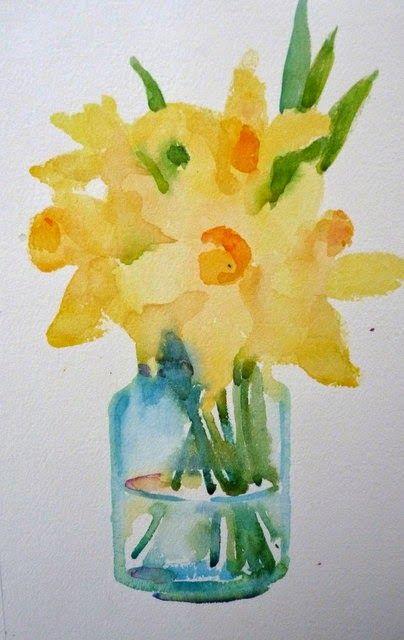 Daffodils Aquarelle Peinture Fleurs