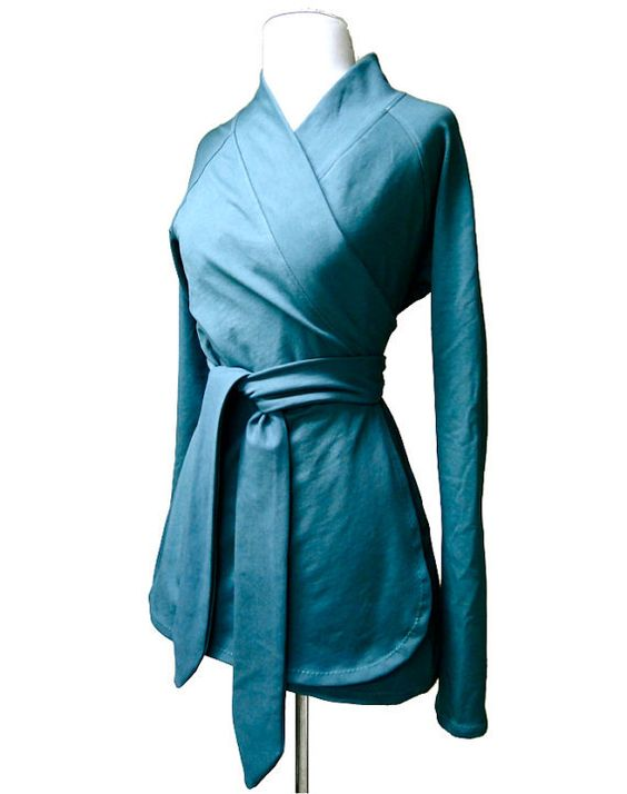 Organic cotton wrap, teal wrap shirt, wrap around blouse, wrap ...