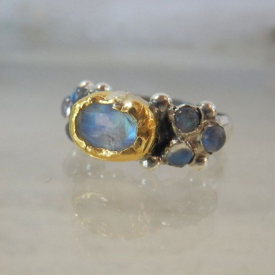 Moonstone Engagement Ring, Silver 24K Solid Gold Faceted Moonstone Caterina Ring, Size 4 5 6 7 8 9 10 11 12, Unique Engagement Ring by yifatbareket on Etsy https://www.etsy.com/listing/195641806/moonstone-engagement-ring-silver-24k