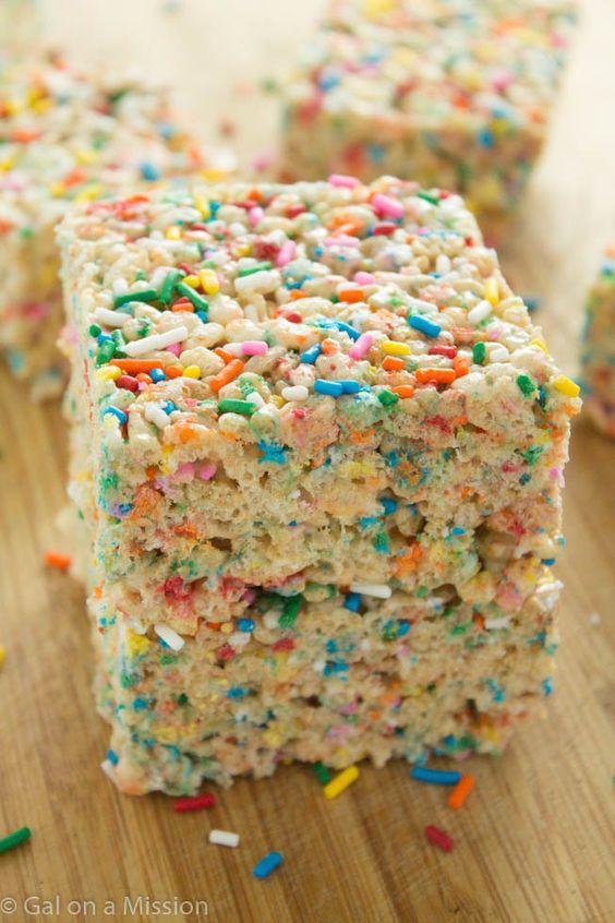 Funfetti Rice Krispy Treats | Recipe on galonamission.com: