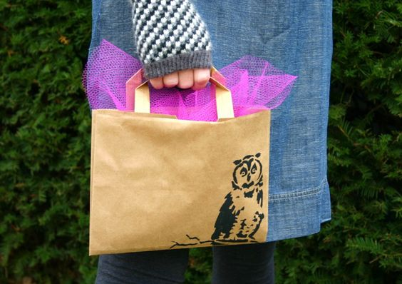 make a gift bag out of brown paper grocery bag