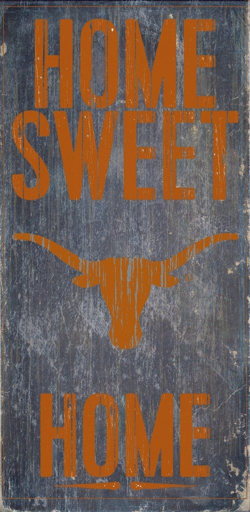 "Texas Longhorns Wood Sign - Home Sweet Home 6""x12"""