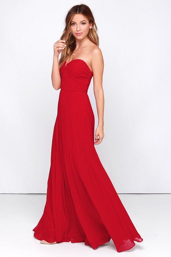 Always Charming Strapless Red Maxi Dress - Red carpets- Lady in ...