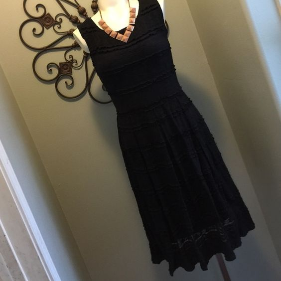 Black pleated lace dress Studio M by Max Studio. This is a great lbd for anyone's collection. Simple and dressy  Studio M Dresses Midi