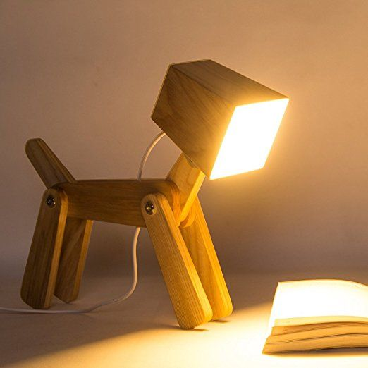 Hroome Modern Cute Dog Wooden Dimmable Beside Led Desk Table Lamp Touch Control Adjustable Brightness With Night Wooden Table Lamps Study Lamps Table Lamp Wood